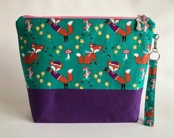 Foxy Ladies - Medium sized project bag for Knitting/Crochet