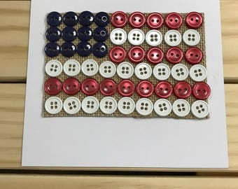 USA Flag Button Card/Independence Day/4th of July