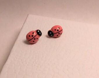 Little pink ladybug, stud post earrings