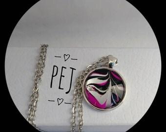 Pink/silver/black,handpainted,cabochon,pendant,necklace