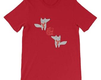 Funny Valentine Shirt, Funny Valentine, Fox in love Shirt, cute fox Shirt, Valentines Shirt, Valentines fun Shirt, Funny Shirt Short-Sleeve