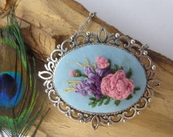 Long necklace and pendant chain Embroidered pendant Wildflower necklace Large oval pendant  Unique jewelry women Birthday gift to mom