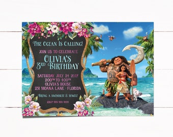 Moana Invitation, Moana Invite, Moana Birthday Invitation, Moana Party, Princess Moana, Moana, Moana Birthday, Girl Invitations, 67