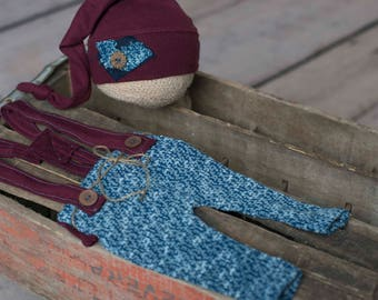 The Bryce-Photography prop boys-suspenders-overall- night cap-blue and maroon-ready to ship newborn-made to order- jersey-set-pant-sleeper