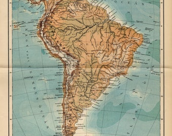 Antique relief map of South America from 1893