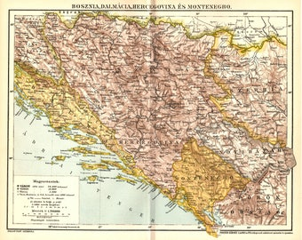 Antique map of Bosnia, Dalmatia, Herzegovina and Montenegro from 1893
