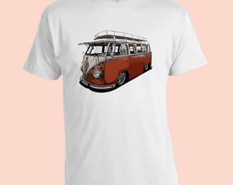 Kombi VW Volkswagen.  Vintage T-Shirt. White 100% Cotton