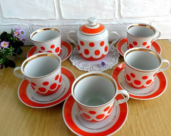 Vintage soviet polka dot coffee tea set for 5 persons Soviet porcelain Russian houseware Kitchen decor Vintage kitchen Tableware Tea service