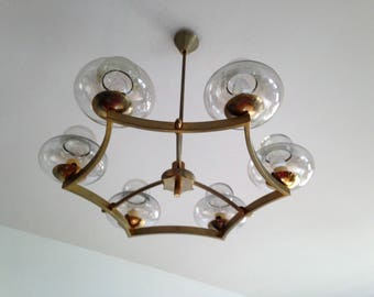 Chandelier 6 branches in glass and brass - handmade - OOAK - french