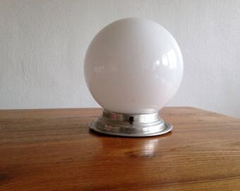 Wall / ceiling light ball - opaline and aluminum - 1960 - France