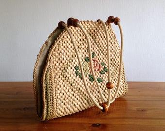 Bag / tote bag - straw, rope and balls - 2 roses - vintage wood