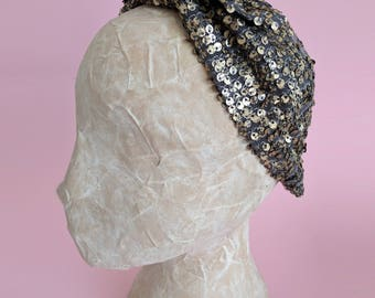 Gold sequence headband, metallic headband, boho headband, turban, shop headband, head wraps, hair accessories, pinup, mother's day gift