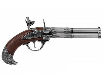 18th Century 3 Barrel Flintlock Pistol Silver or Gold Replica