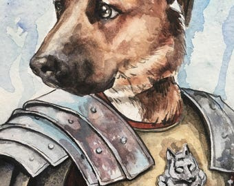 Dog Character Painting-Dog Portraits-Custom Watercolor Pet Portrait-Unique Gift-Funny-Pet Portrait-Gladiator
