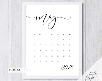 MAY 2018 printable pregnancy or save the date announcement calendar social media flat lay photo prop due date- digital file download