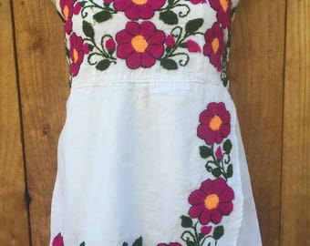 Strapless Mexican hand Embroidered blouse Size Large to XL