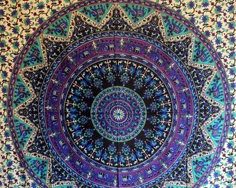 Wall Tapestries Bohemian Tapestry Boho Decor Wall Art Mandala Dorm Room Decor Gypsy Bed Cover Blue Wall Hanging Yoga Tapestry Hippie Decor