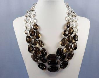 Jorge Revilla Silver Rock Crystal & Smoky Quartz Necklace