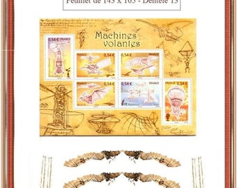 Aviation: the flying machines - Art philately, souvenir sheet issued by France in 2006 - Digital photo editing