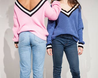 Pink blue sweater women knit jumper v neck pullover off shoulder sweater oversized knitted sweater black striped pullover cotton long sleeve