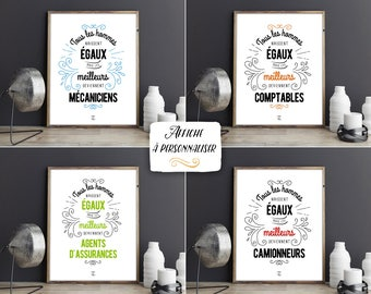 """Custom download poster """"all men are created equal...""""-quote, inspirational phrase, professional, man gift"""