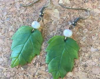 summer jewelry - polymer clay leaves and shiny light pink beaded earrings - earrings hooks - sparkle - fashion jewelry - costume jewelry