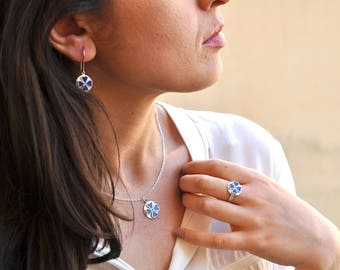 Silver and Lapis Necklace, Lapis Pendant, Lapis Necklace, Silver and Lapis Pendant Necklace, Gold Plated and Lapis Necklace