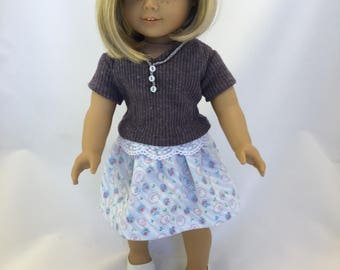 18 inch doll clothes; skirt and top