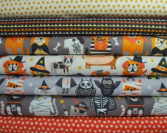 """Costume Party featuring """"Boo Crew"""" fat quarter bundle designed by Maude Asbury for Blend Fabrics; Halloween Costume Party Fabric; Animals"""