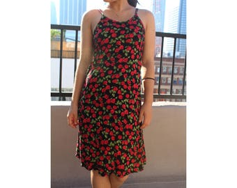 90's floral red roses dress / XS