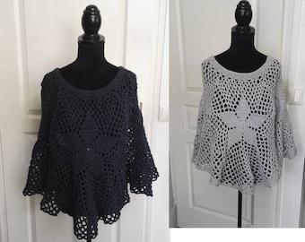 Poncho crochet effect lace Model Unique gray clear size 36/38
