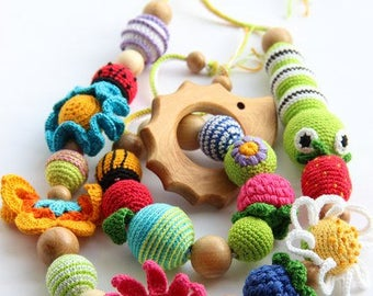 Baby set: nursing necklace, teethers with wooden toy hedgehog. Cotton crochet pacifier eco lovely baby wooden breastfeeding safe natural