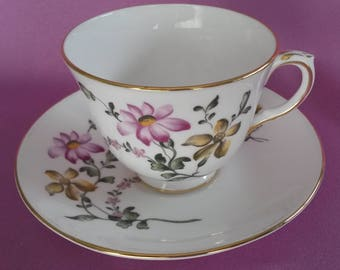Crown Staffordshire Fine Bone China Tea Cup & Saucer with Gold Trim