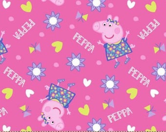 Peppa pig fabric, fabric by the yard, sewing fabric, nursery fabric, craft fabric, apparel fabric, fabric quarter, cotton fabric