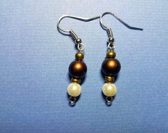 Metallic Brown and White Pearlescent Drop Earrings
