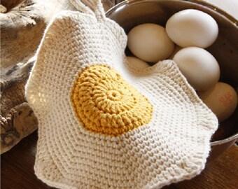 Pot holder handmade pot holder knitted pot holder crochet pot holder funny pot holder fried egg pot holder Xmas gift  Drops Lilith