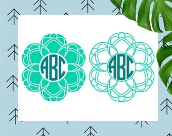 Mandala SVG Mandala Monogram SVG Monogram Svg flower svg floral svg mandala cut file svg file Cricut Silhouette Monogram Frame svg dxf file