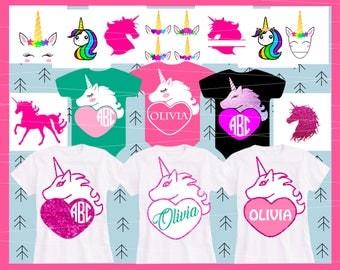 Unicorn Svg BUNDLE Valentine svg Heart svg Girl Baby svg Birthday svg Monogram svg Horn svg Eyelashes svg files for Cricut Silhouette Dxf
