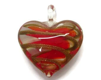 Glass Heart Pendant, Vintage Red Gold Streaked Pendant, Puffed Heart Clear Glass Pendant, Gift for Her