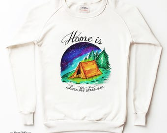 WATERCOLOR FOREST - White Cotton SWEATSHIRT by LovelyBones Clothing