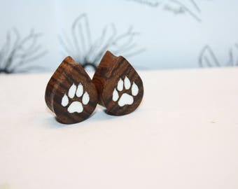 Connection Epoxy and wood custom Teardrop plugs Handmade Wooden Ear Plugs Gauges, make your own style and image, minimum size 18 mm