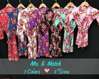 Cotton Floral Robes (7 Colors/5 Sizes-Mix and Match), bride robe, wedding robes, bridesmaid robes, plus size robe, flower girl robe, gifts