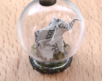 Tiny Elephant Origami Necklace- Elephant Pendant -Book Paper-Terrarium Nacklace-Glass Bottle -New mum gift-Gifts for Her