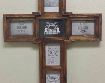 Rustic Handmade solid wood cross picture frame