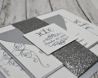 Silver Thermography Traditional Wedding Invitation (Raise Ink)