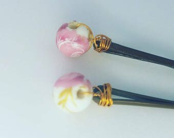 Hand beaded hair pins