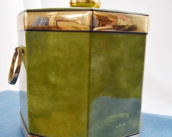 Green Marbleized Mid Century Vintage Kraftware Ice Bucket