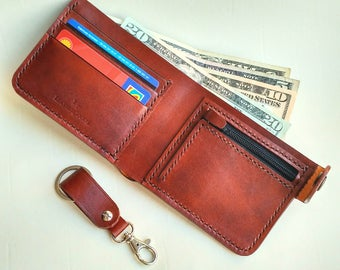 Unusual and extraordinary Men's Leather Wallet and an excellent keychain valentine's gift! Special offer! One lot - 2 products!