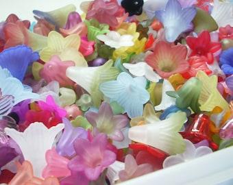 Lucite Acrylic Flower Beads, De-stash Mix, 100-110 pieces