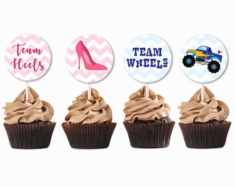 Wheels Or Heels Gender Reveal, Gender Reveal Cupcake Toppers, Gender Reveal Geofilter, Gender Reveal Invites, Gender Reveal Party